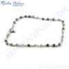 Beautiful Beaded Iolite Silver Bracelet, 925 Sterling Silver Jewelry