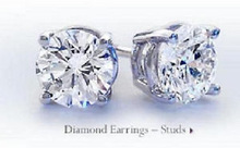 Solitaire Real Natural Diamond 0.50Ct Studs In 10k White Gold For Wedding Gift