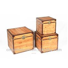 Antique wooden storage trunk
