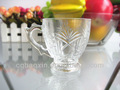 Elegant gravé clair irlandaise coffee cup/verre à thé/café tasse avec anse( usine de verre, passed fda/l'ue./25x13mm)