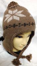 ear flap camel wool cap