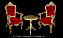 Carved chair wood gold and red velvet color