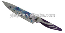 Non-stick colorful stainless steel kitchen knifes japanese
