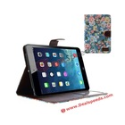 For iPad Mini 2 Leather Cover! New Flowers Wallet Leather Stand Cover for iPad Mini 2 Credit Card Slot
