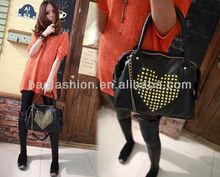 Korea style Rivet Heart Shape Women Lady Handbag bags