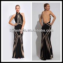 Black Halter neck Unusual design Open Back Chiffon Prom dress
