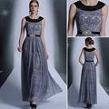 En stock couleur gris long strass. 2014 robes du soir en dentelle à long