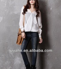 2014 New Fashion casual long sleeve blouse for women 100% linen