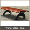 Simple backless wood bench with cast iron legs FW11