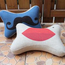 mustache cushion cover, lips cushion cover car decorative travel neck support bone cushion