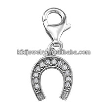 lucky horseshoe crystal silver plated charms pendant