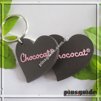 2014 Factory Eco-friendly Customization PVC Rubber 2D Heart Shaped Keychain Couple