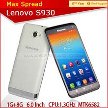 6'' IPS MTK6582 Quad Core 1G/8G Dual SIM 3G Android smart phone Lenovo S930 mobile phone 100% original