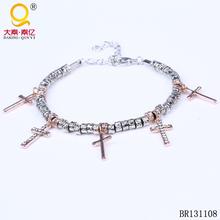 lucky charm cross pave link bracelet