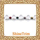 Wholesale Plastic acrylic white color rhinestone beaded trim chain trim banding