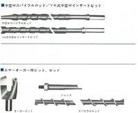 Japanese auger bit and spiral rod for names mining tools