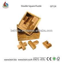 Classic IQ Double Square Puzzle Brain Teaser Wooden Puzzle Game