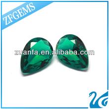 Wuzhou wholesale pear cut green glass gems
