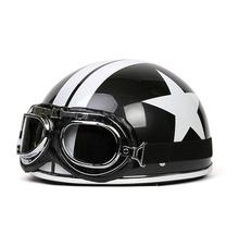 Vintage Motorcycle Motorbike Scooter Half Helmet+Goggles Star Printed Black