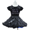 Black Silver Sparkle Pettiskirt Plus Rhinestone Born To Wear Diamonds Black Short Sleeves Tee Party Dress 1-7Y