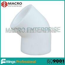 White PPR fittings DIN8077 / 8078 Elbow 45 degree