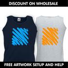 Cheap custom printed vests, mens vests, uk printed vests, fruit of the loom vests, wholesale printed vests, gym vests