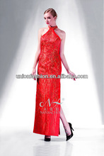 Classical high collar sleeveless 2015 cheap hot long red satin and gold lace evening dress formal evening dinner dress