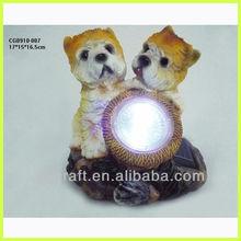 polyresin dog figurines with solar lights
