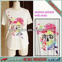 2014 korea short sleeve t shirt with flower print