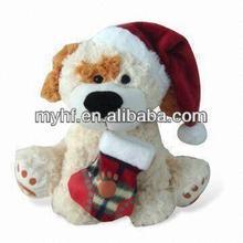 Plush toys print logo Christmas cute dog with sock toys