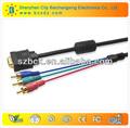 Alta velocidad vga cable y dmi hdtv a vga hd15 y / pb / pr 3 rca adaptador de cable para venta al por mayor