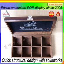 cosmetics box display design tablet wood cosmetics furniture