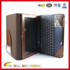 Brown genuine pu leather case for ipad portfolio with keyboard