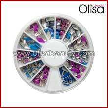Purple and blue Korea metal nail art designs