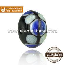 Fashion navy blue european style China original brand lampwork glass beads wholesale