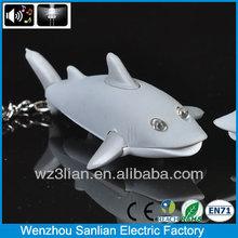 2014 high quality promotion led sound shark gift souvenir detachable keychains