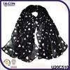 New muslim tassel scarf/black shawl printed scarf/heart print shawl