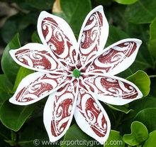Tahitian Tiare Foam Flower Tribal Tattoo Print (BROWN ink on color foam)