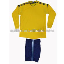 Yellow shirts dark blue shorts sets custom logo sports jersey blank long sleeve uniform china football