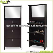 New arrival antique brown 3 doors wooden shoe cabinet design