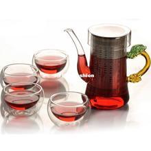 Chinese factories heat-resistant glass flower tea handmade flower pot simple five sets of 300ml