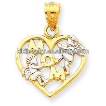 cheap gold plated mom heart shaped charm pendant with two little angels