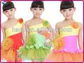 2014 новый дизайн конкурентоспособная цена костюмы детей танцевать большой цветок латинский танец костюм для девочек красный зеленый rose цена по прейскуранту завода