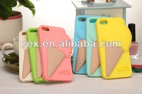 Cute 3D Melt Ice Cream Cone Silicon Soft Back Cover Skin Case For iPhone 5 5S 5G