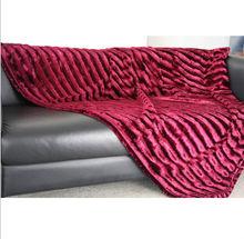 hot sale 130*175cm brand luxury pure microfibre & Fuax Fur (mink) reversible Blanket/Throw/ deco textile blanket