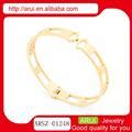 luz de ouro maciço bangles pulseira elegante vestuário para mulheres