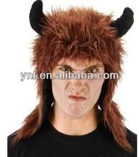 BROWN MINOTAUR HOODIE HAT viking horns kids adult halloween costume accessory