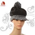 Dama de la moda 100% de acrílico de punto de invierno tapa sombrero con pompón y ala