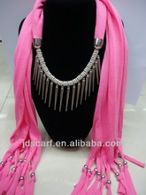 scarf with jewelry solid color with rivet scarf jewelry pendant scarf