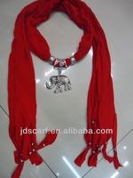 jewel beads pendant scarf necklace jewelry solid color with rivet scarf jewelry pendant scarf